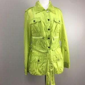 NWT Luisa Cerano Neon Green Utility Rain Jacket